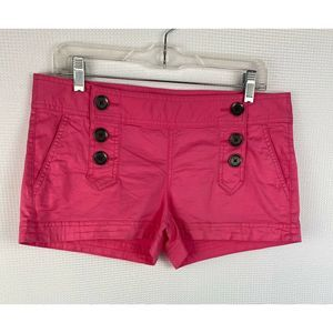 Express Shorts Pink Six Buttons Pockets Mid Rise